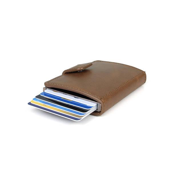 Figuretta RFID uitschuifbare creditcardhouder - Portemonnee - Anti skim pasjeshouder - Inclusief sleutelhanger - Carbon