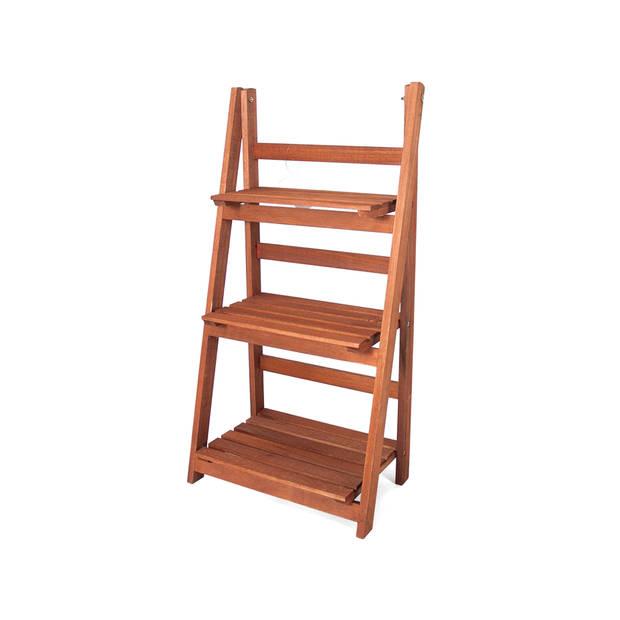 Gerimport Houten Decoratie Ladder Emma Opbergplank Ladderrek Met 3 Planken Open Kast Wit Blokker