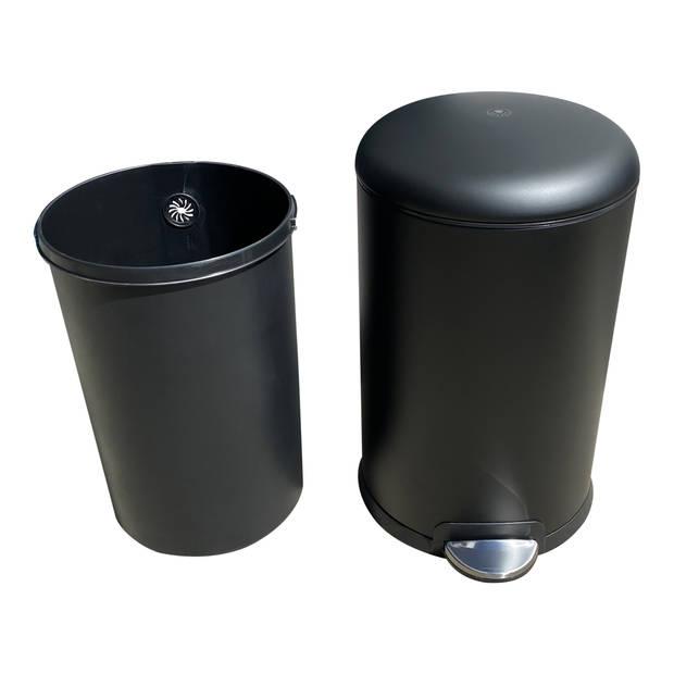 4cookz® Texas pedaal prullenbak 20L mat zwart - ultra soft-close