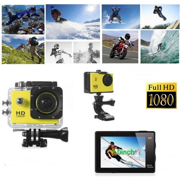 Sports FULL HD Camera DV (waterresistant) 1080p Actioncam Accessoires - Geel