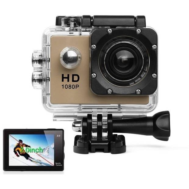 Sports FULL HD Camera DV (waterresistant) 1080p Actioncam Accessoires - Bruin