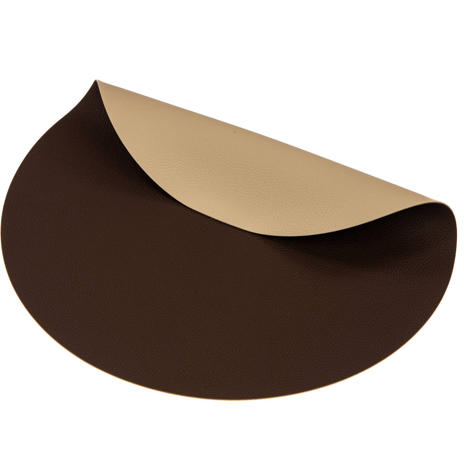 Korting Jay Hill Placemat Rond Leer Bruin Zand Ø 38 Cm