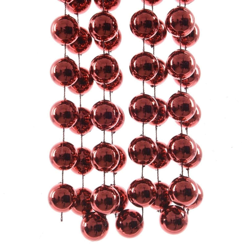 3x Stuks Xxl Donker Rode Kerstversiering Kralenslingers 270 Cm Kerstversiering - Kerstboom Slingers