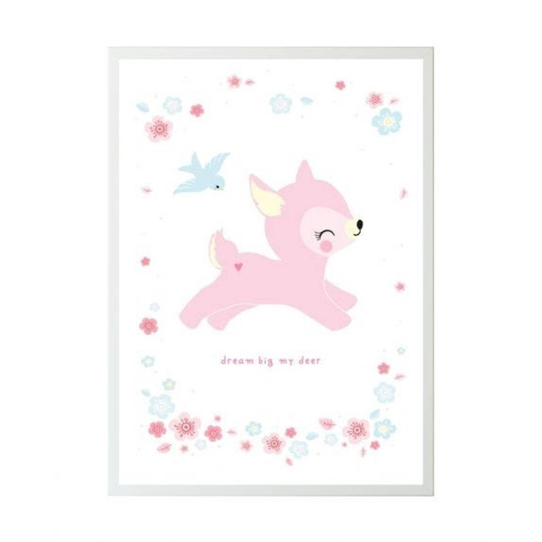 A Little Lovely Company Poster Hert Meisjes 50 X 70 Cm Papier Wit/roze
