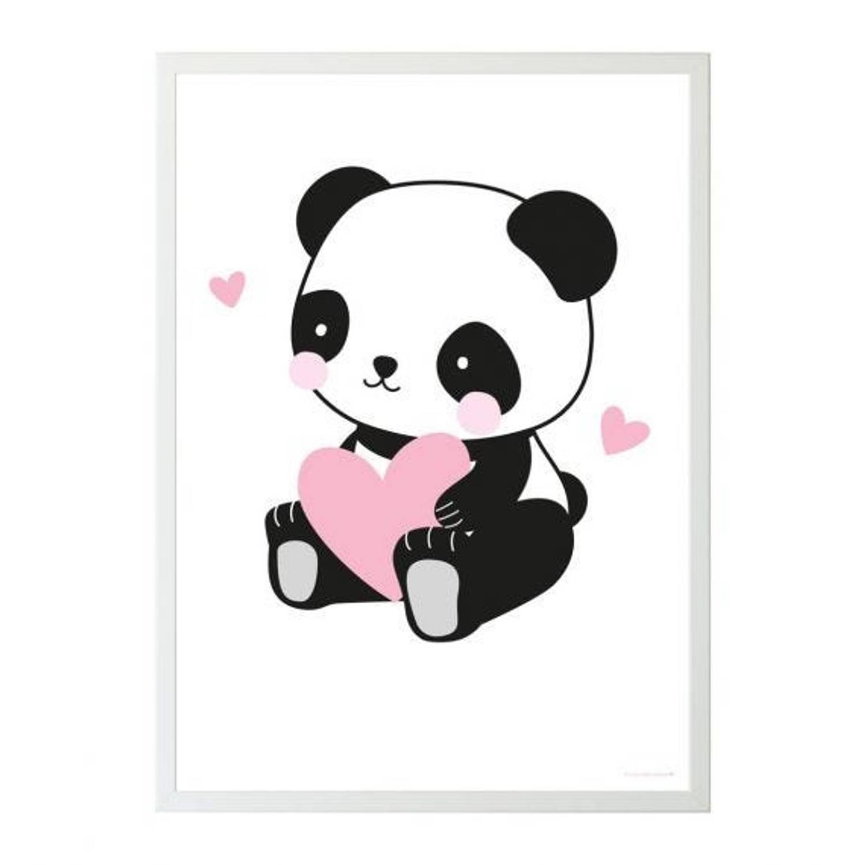 A Little Lovely Company Poster Panda Meisjes 50 X 70 Cm Papier Zwart/roze