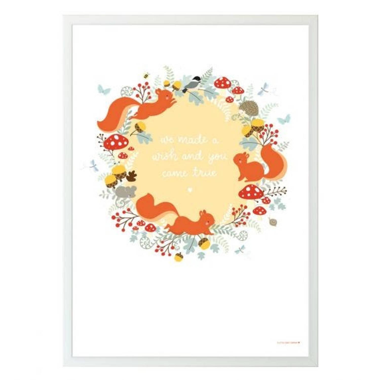 A Little Lovely Company Poster Bos Junior 50 X 70 Cm Papier Wit/oranje
