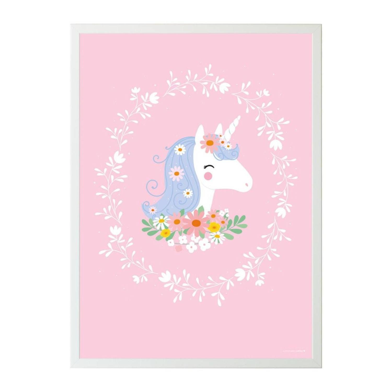 A Little Lovely Company Poster Eenhoorn Meisjes 50 X 70 Cm Papier Roze
