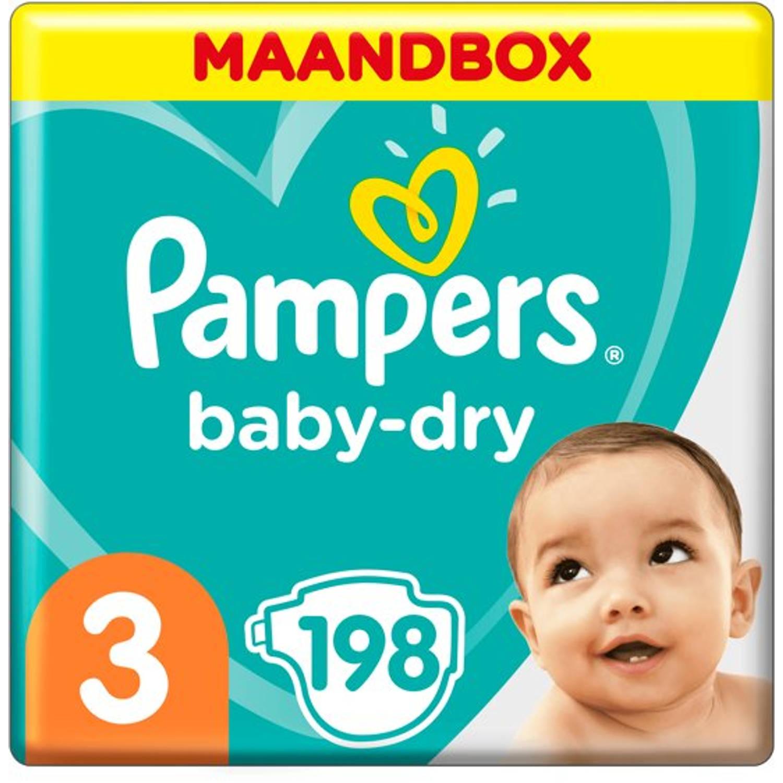 Pampers Baby-Dry Maandbox Maat 3 (Midi) 4-9 kg 198 Luiers