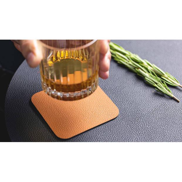 Jay Hill Onderzetters Leer Zwart Cognac 10 x 10 cm - 6 stuks