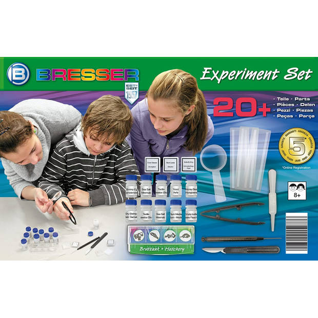 Bresser experimentset microscoop junior blauw 20-delig