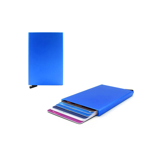 Figuretta RFID uitschuifbare creditcardhouder - Portemonnee - Anti skim pasjeshouder - Blauw