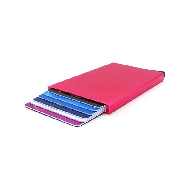 Figuretta RFID uitschuifbare creditcardhouder - Portemonnee - Anti skim pasjeshouder - Metallic Rood