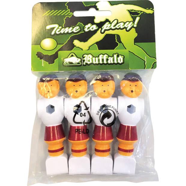 Buffalo tafelvoetbal pop 16 mm rood/wit 4 stuks