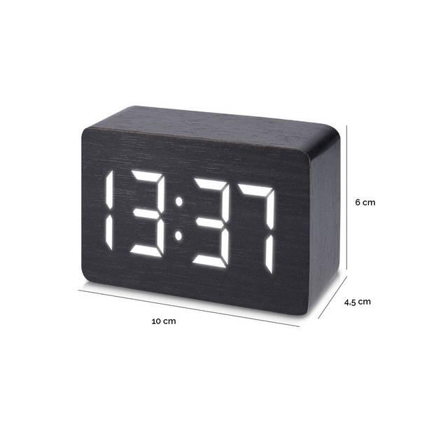 JAP Clocks AC142 digitale wekker - Houten alarmklok - Datum en tijd - Zwart
