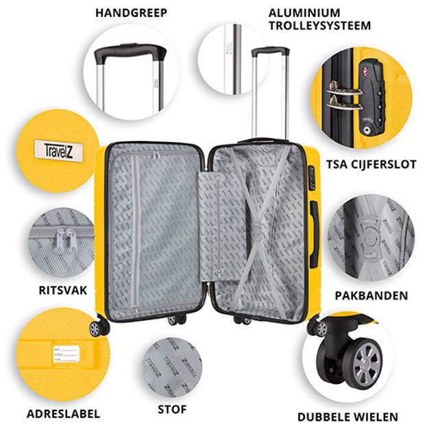 TravelZ Big Bars Reiskoffer 78cm Reistrolley TSA Dubbele wielen Geel