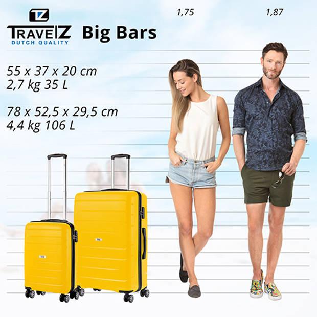 TravelZ Big Bars Kofferset Trolleyset 2-delig Handbagage + Groot Geel