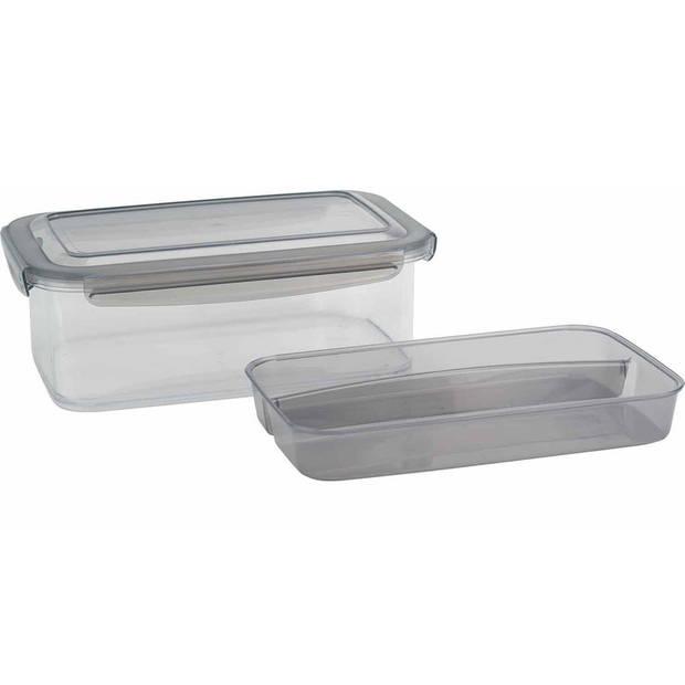 Lunchbox met (bestek) bakje - Antraciet - 1,9L - 24 x 15,2 x 8,8 cm - Voedselbewaar trommel/broodtrommel