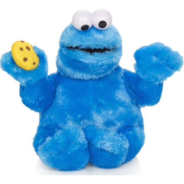 Pluche Sesamstraat koekiemonster handpop met geluid 37 cm - Sprekende Cookie Monster knuffel handpop