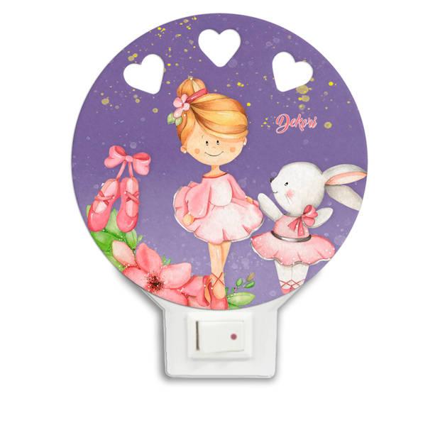 Dekori nachtlamp ballerina ld meisjes 12 x 4 cm hout roze/paars