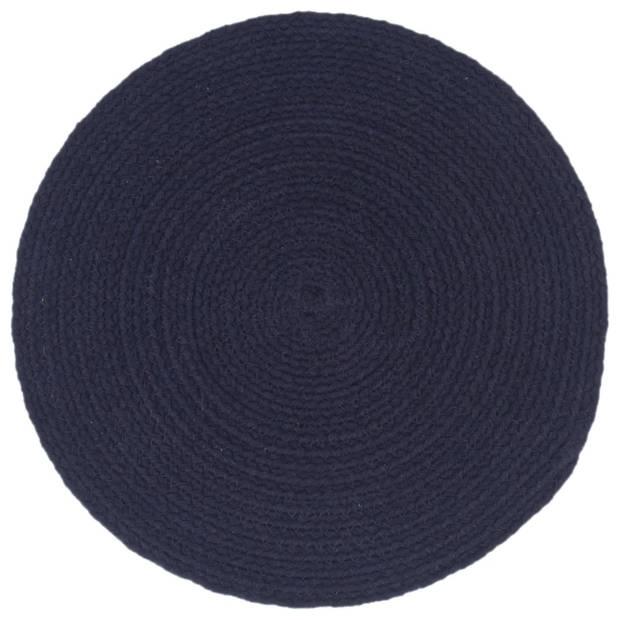 vidaXL Placemats 6 st rond 38 cm katoen effen marineblauw
