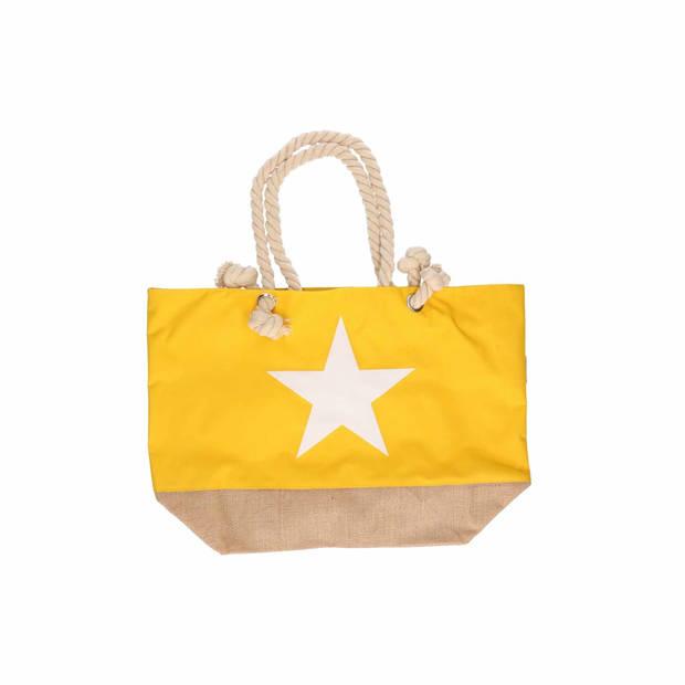 Gele strandtas met witte ster 55 cm - Strandtassen/schoudertassen gele - Shoppers/zomer tassen