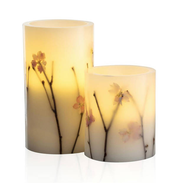 Pauleen Shiny Blossom - Wax LED Kaarsen - Set van 2