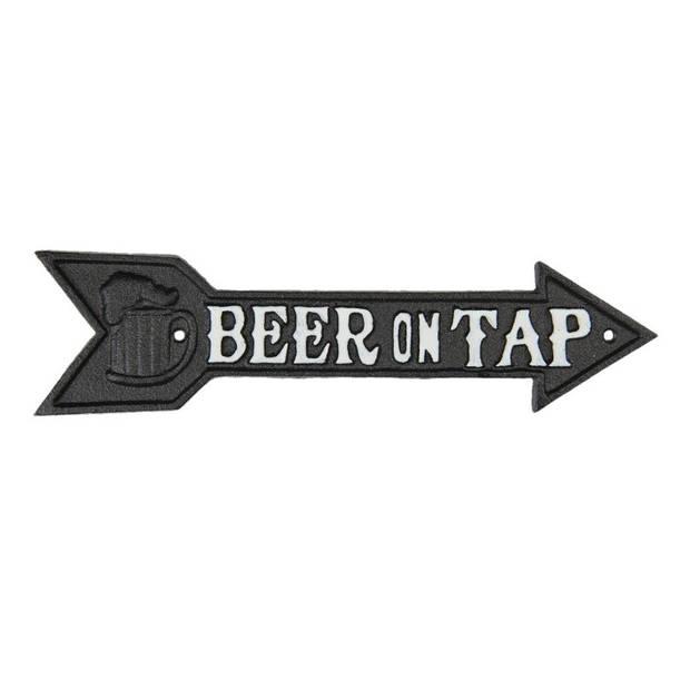 Clayre & Eef - tekstbord pijl beer on tap 32*1*8 cm - bruin - ijzer - 6Y3899