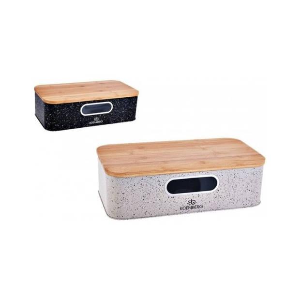 Edënbërg White Line - Luxe Broodtrommel RVS/Bamboe - incl. Snijplank