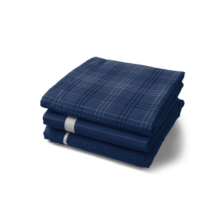 Twentse Damast 3PACK Keukentextiel Mix&Match Marineblauw