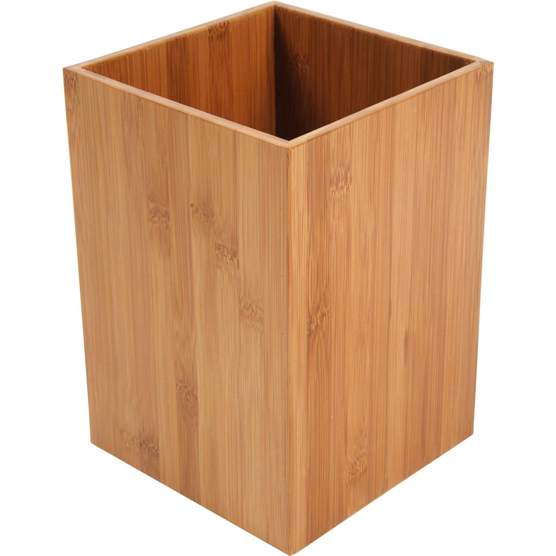 4goodz Afvalbakje 7,5 Liter Vierkant Bamboe - Bruin