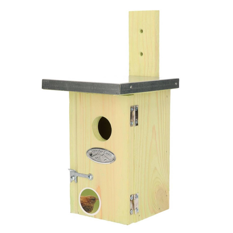 Merkloos Houten Vogelhuisje/nestkastje Winterkoning Tuindecoratie Vogelnest Nestkast Vogelhuisjes Tuindieren online kopen