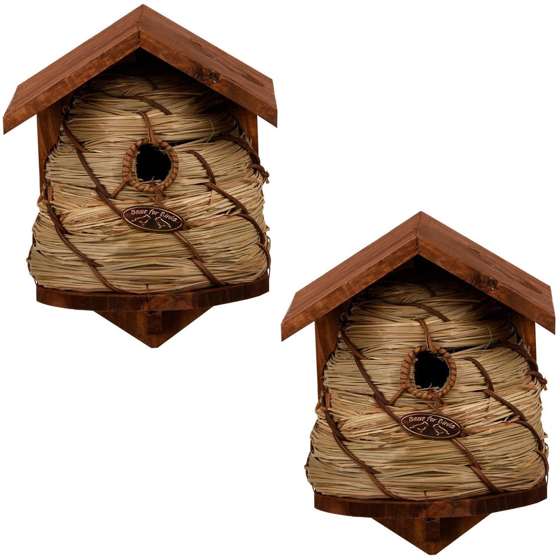 Merkloos 2x Vogelhuisjes/nestkastjes Bijenkorf Tuindecoratie Nestkast Vogelhuisjes online kopen
