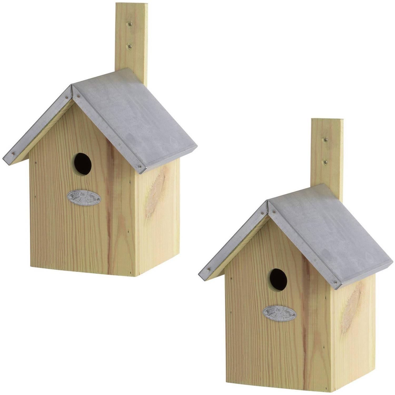 Merkloos 2x Houten Vogelhuisjes/nestkastjes Pimpelmees Tuindecoratie Vogelnest Nestkast Vogelhuisjes online kopen