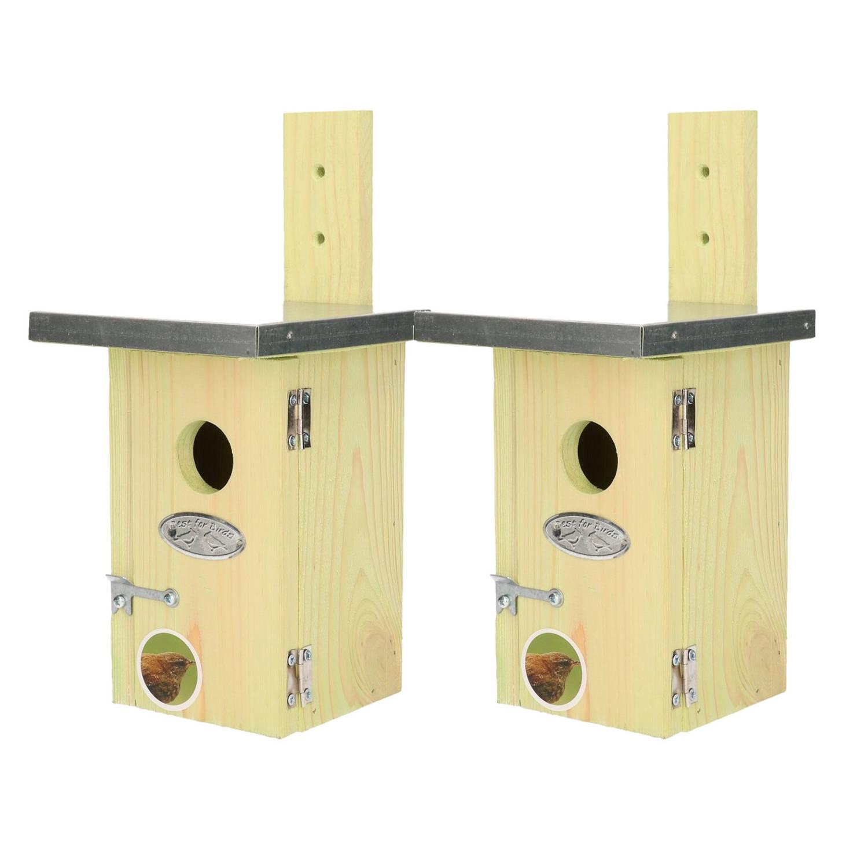 Merkloos 2x Houten Vogelhuisjes/nestkastjes Winterkoning Tuindecoratie Vogelnest Nestkast Vogelhuisjes Tuindieren online kopen