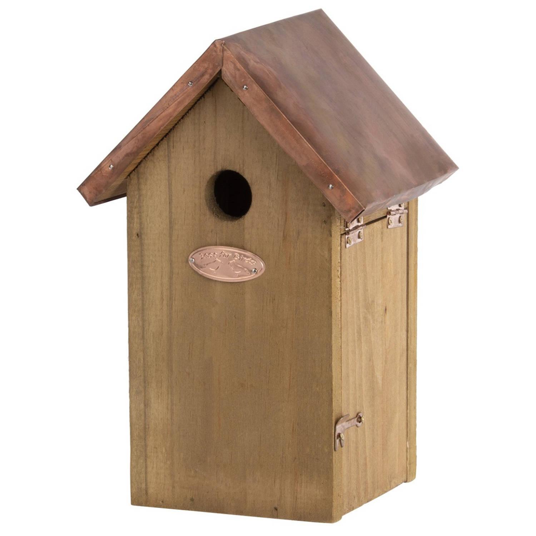 Merkloos Houten Vogelhuisje/nestkastje Pimpelmees- Tuindecoratie Vogelnest Nestkast Vogelhuisjes Tuindieren online kopen