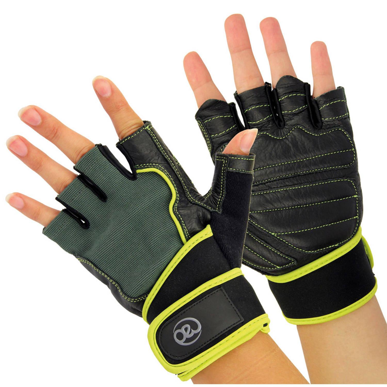 Korting Fitness Mad fitness handschoenen heren leer zwart groen maat L