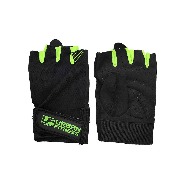 Korting Urban Fitness fitness handschoenen katoen zwart groen maat S