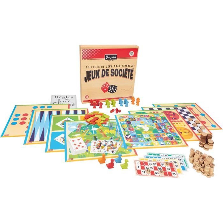 JEUJURA Doos met traditionele bordspellen Houten doos