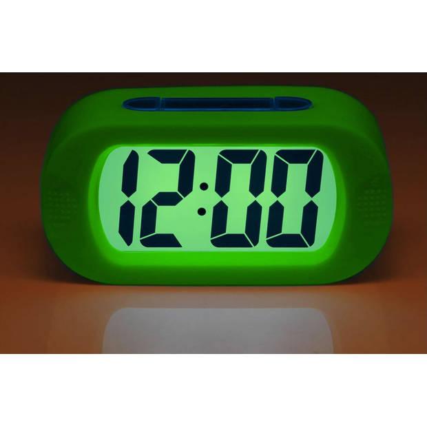 JAP AP17 digitale wekker - Stevige alarmklok - Met snooze en verlichtingsfunctie - Beschermhoes van rubber - Groen