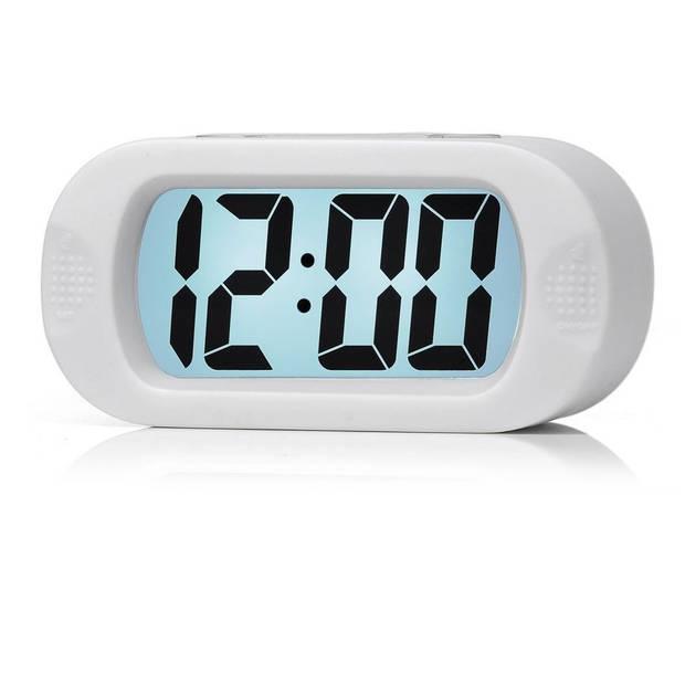 JAP AP17 digitale wekker - Stevige alarmklok - Met snooze en verlichtingsfunctie - Beschermhoes van rubber - Wit