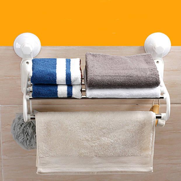 Zelfklevend Handdoekenrek Legplank, Hang stang en 2 Ophang Haken -