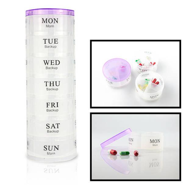 RONDE XL Pillendoos - Medicijn Box met 28 Vakjes voor 4 Dagdelen -