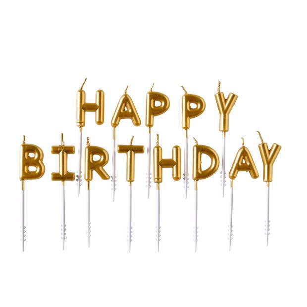 Amscan verjaardagskaarsjes Happy Birthday 7,5 cm wax goud 13 stuks