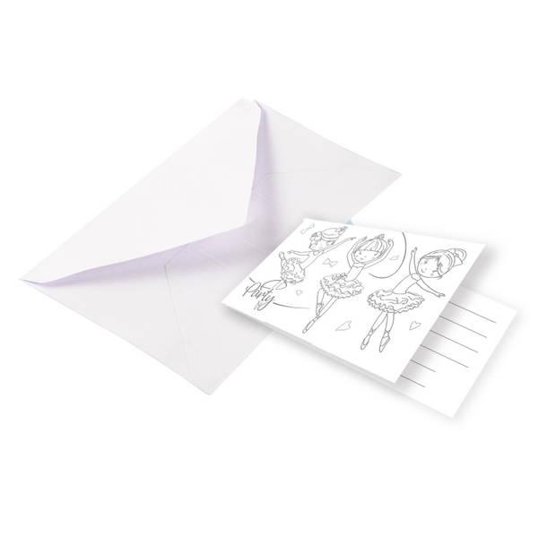 Amscan uitnodigingen ballerina 8 x 14 cm papier wit 8 stuks
