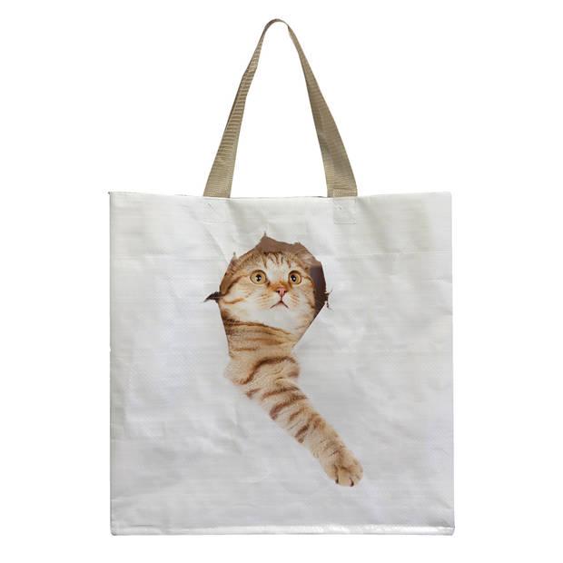 Esschert Design boodschappentas Kat in de zak 23 liter polyester
