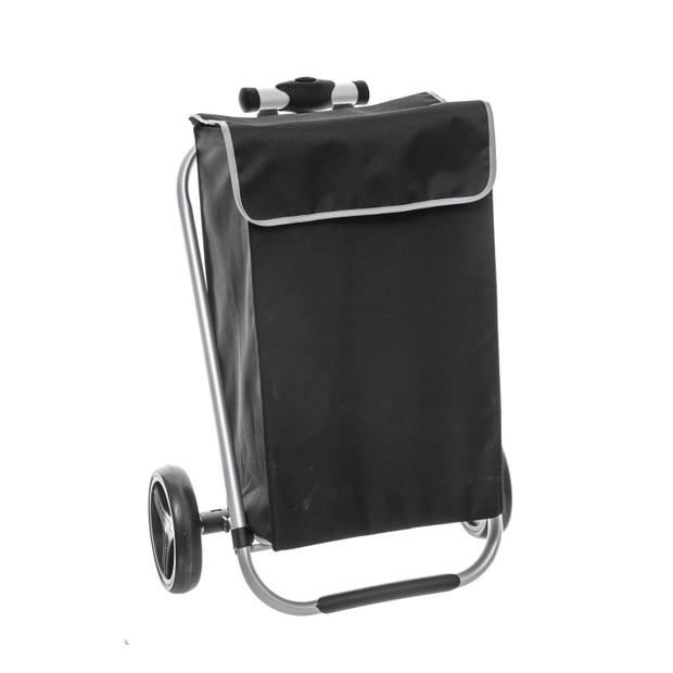 4goodz stevige aluminium boodschappen trolley - Zwart met Zilver