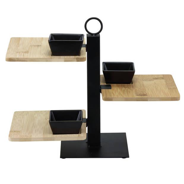 Bamboe serveerplateau/etagere 3 laags 26 cm - Bamboe serveertray met 3 plankjes - High tea etagere bamboe/keramiek