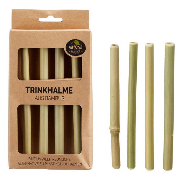 4x Duurzame bamboe drinkrietjes herbruikbaar 16 cm - Milieuvriendelijke houten eco rietjes