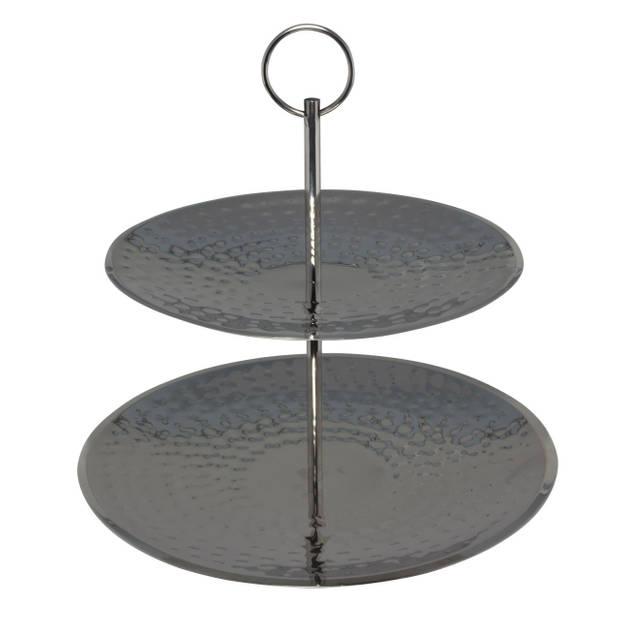 Etagere zilver RVS 2-laags 25 cm - Serveerplateaus/etageres - Tafeldecoratie accessoires