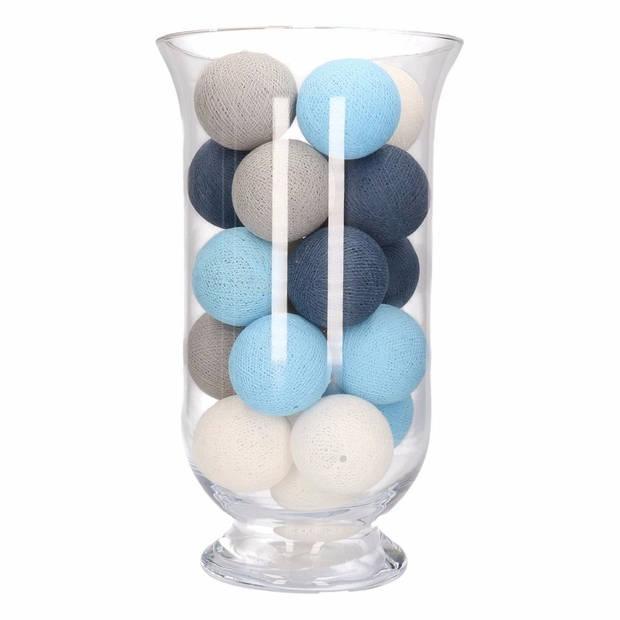 Feestverlichting blauw, grijs en witte balletjes - Lichtslingers katoen
